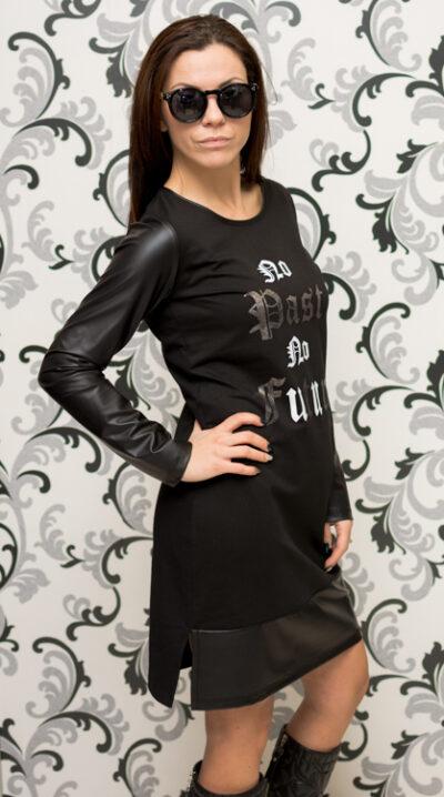 Дамска черна спортна рокля с кожа 2