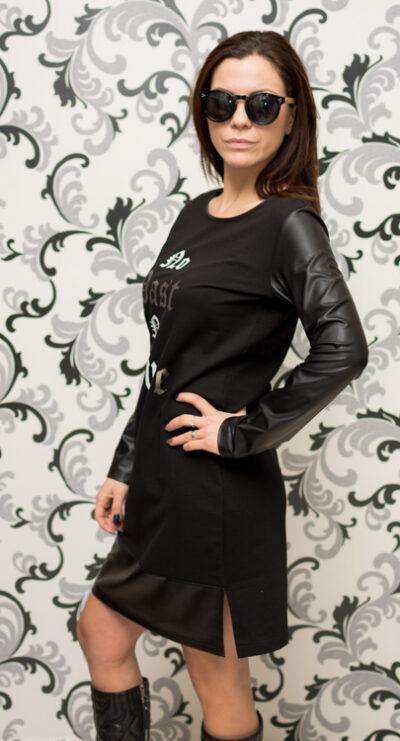 Дамска черна спортна рокля с кожа 3