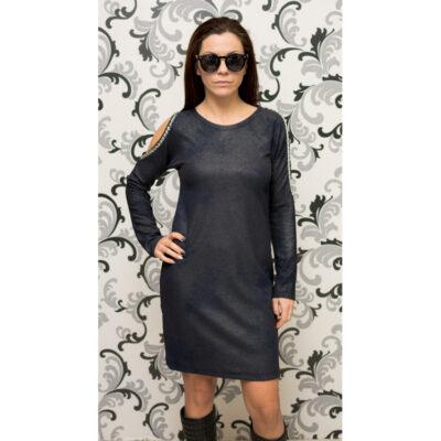 Дамска тъмносиня рокля с голо рамо 1