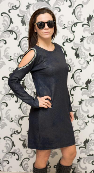 Дамска тъмносиня рокля с голо рамо 2