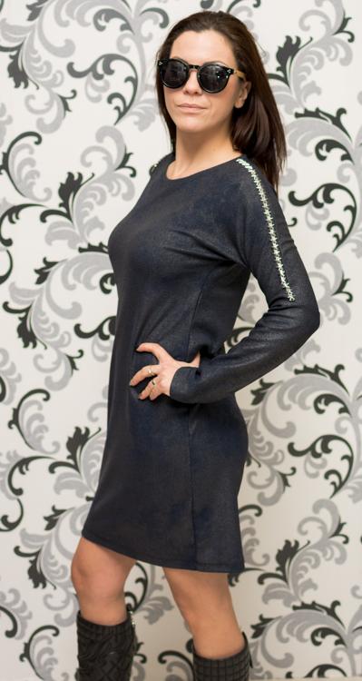 Дамска тъмносиня рокля с голо рамо 3