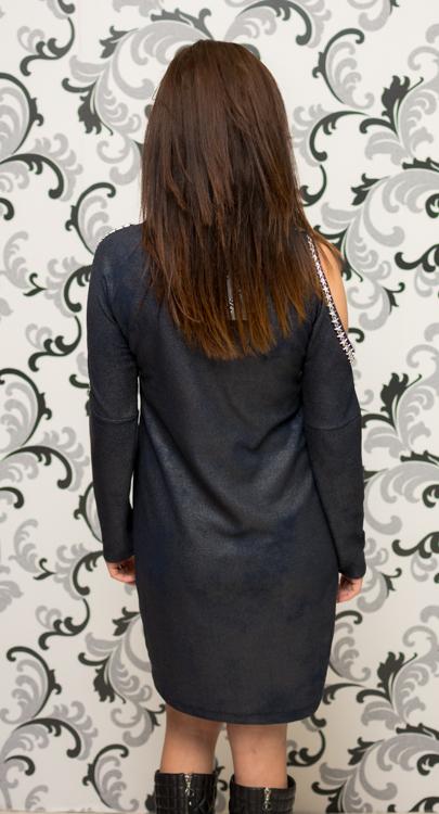 Дамска тъмносиня рокля с голо рамо 4