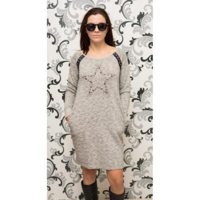 Дамска рокля - спортна, ватирана със сив цвят 1