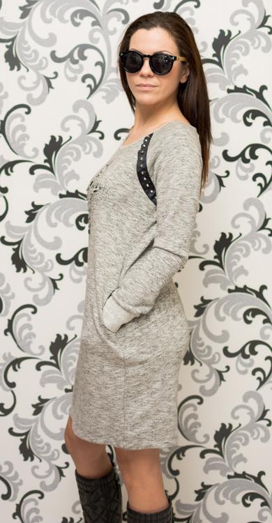 Дамска рокля - спортна, ватирана със сив цвят 2