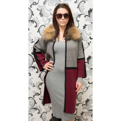 Дамска плетена жилетка в сиво и бордо 1