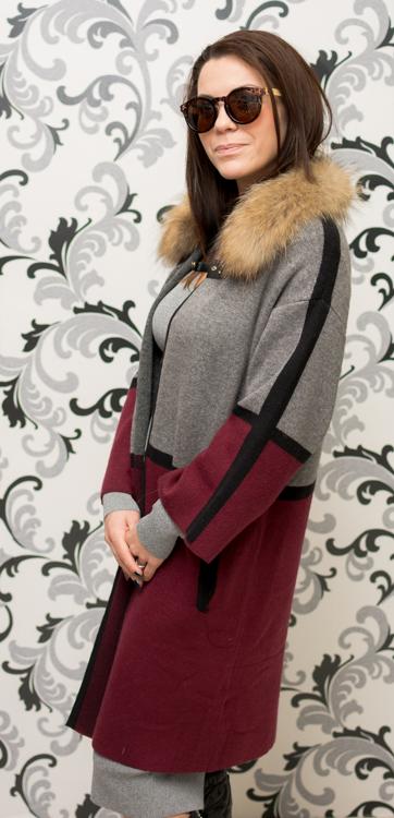 Дамска плетена жилетка в сиво и бордо 5
