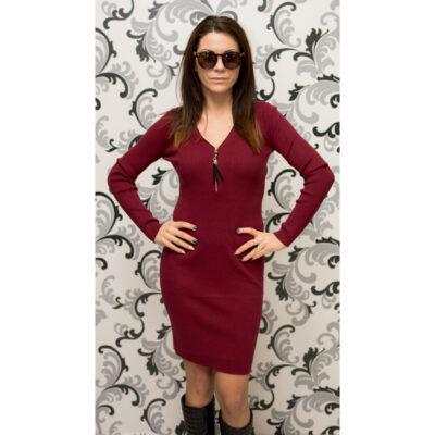 Дамска плетена рокля с цип - бордо 1