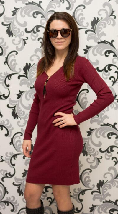 Дамска плетена рокля с цип - бордо 3
