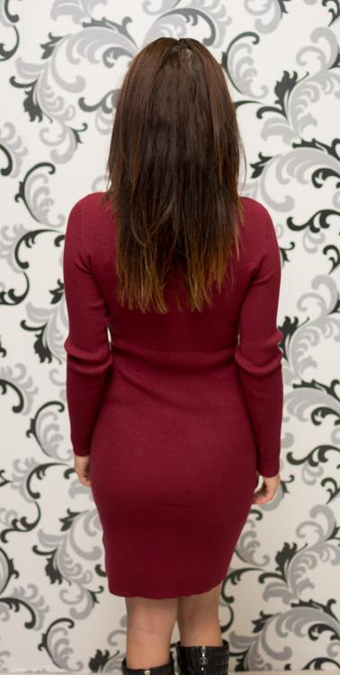 Дамска плетена рокля с цип - бордо 4