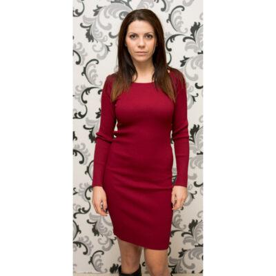 Плетена дамска къса рокля - цвят бордо 1