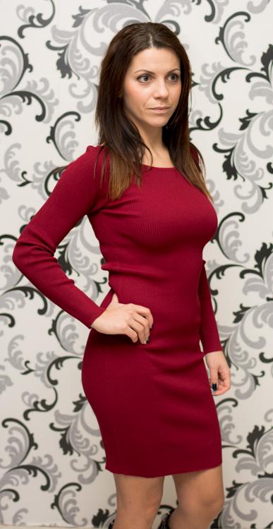 Плетена дамска къса рокля - цвят бордо 4