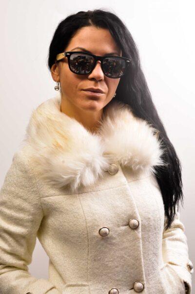 Дамско палто с еко яка -бяло 3