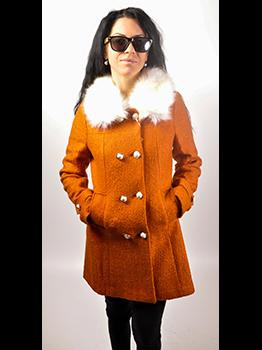 """Дамско палто с еко яка - цвят """"горчица"""" 5"""