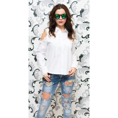 Дамска бяла риза с голо рамо - памучна 1
