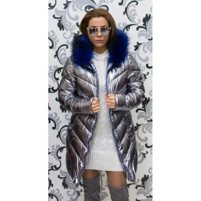 Дамско сребристо яке - тъмно със син пух 5
