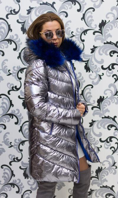 Дамско сребристо яке - тъмно със син пух 2