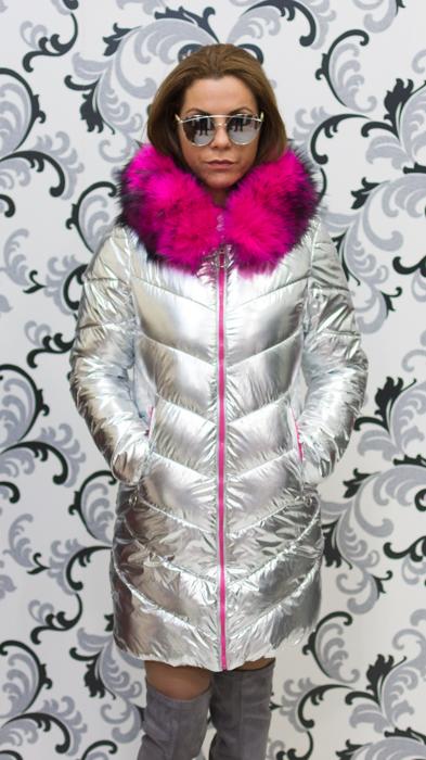 Дамско сребристо яке - светло с цикламен пух 4
