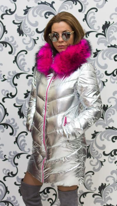 Дамско сребристо яке - светло с цикламен пух 3