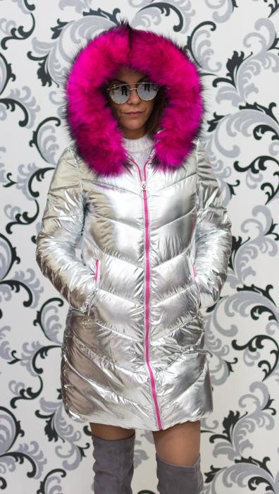 Дамско сребристо яке - светло с цикламен пух 1