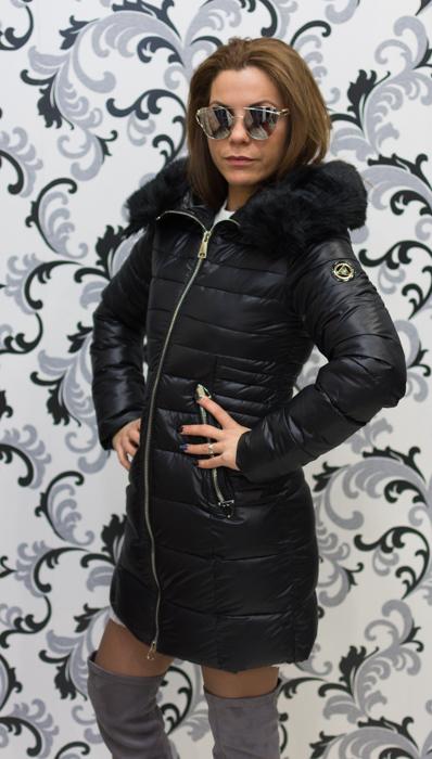Черно зимно дълго яке 3