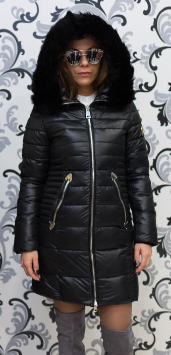 Черно зимно дълго яке 2