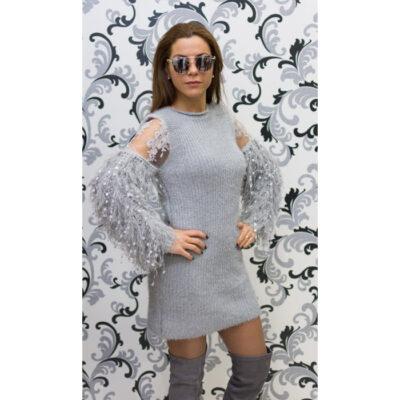 Дамска плетена вълнена рокля - сива 1