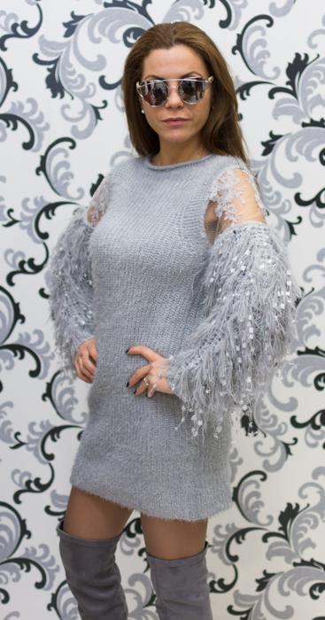 Дамска плетена вълнена рокля - сива 2