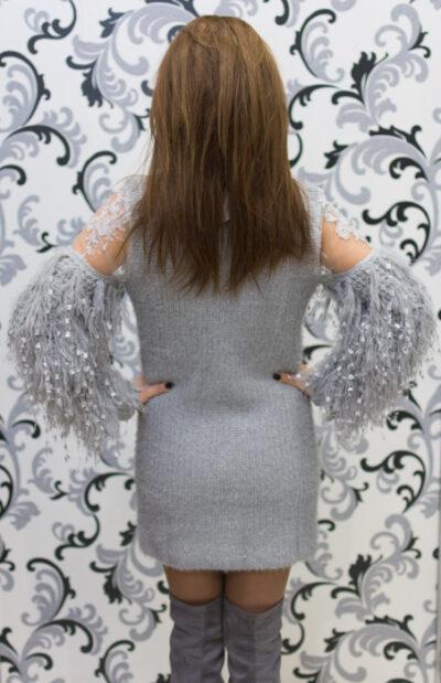 Дамска плетена вълнена рокля - сива 3