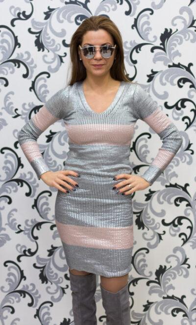 Дамска плетена лъскава рокля - сива 1