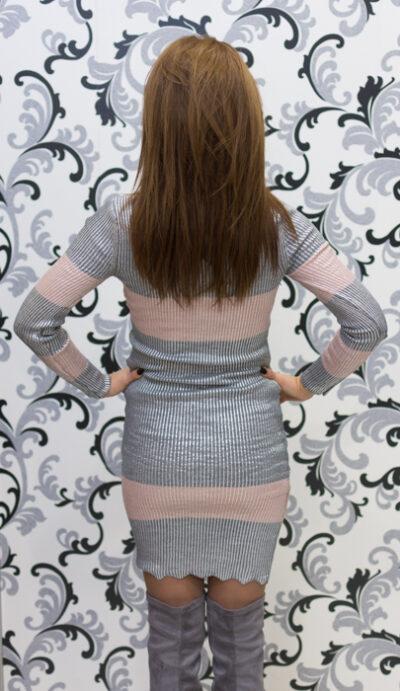 Дамска плетена лъскава рокля - сива 4