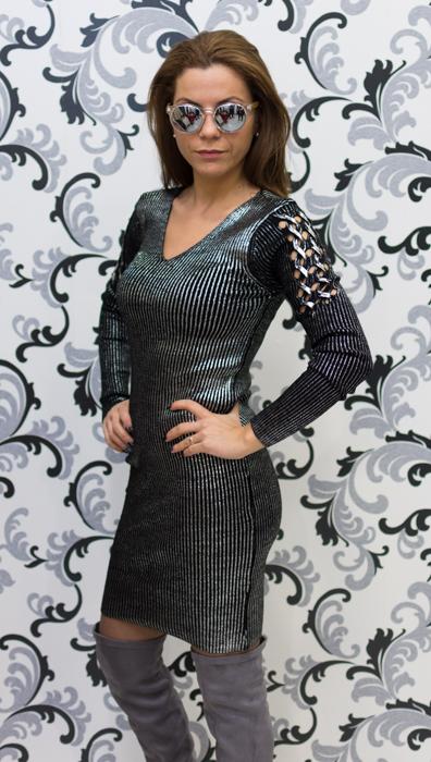 Дамска плетена лъскава рокля - черна 3