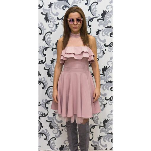 Дамска официална рокля с голо рамо - розова 1