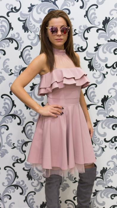 Дамска официална рокля с голо рамо - розова 2