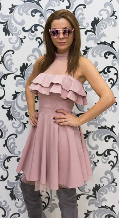 Дамска официална рокля с голо рамо - розова 3