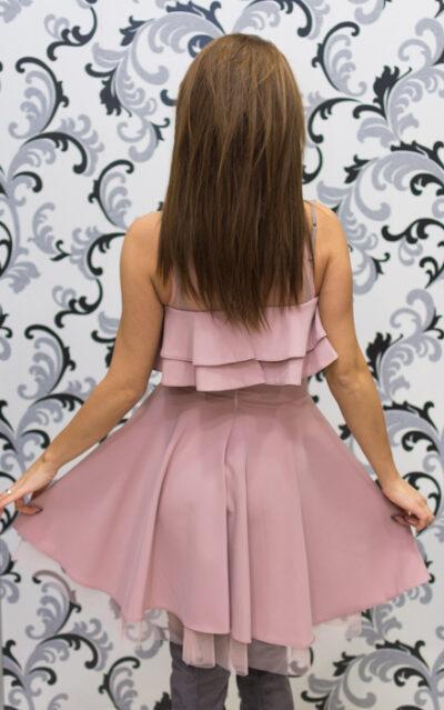 Дамска официална рокля с голо рамо - розова 4