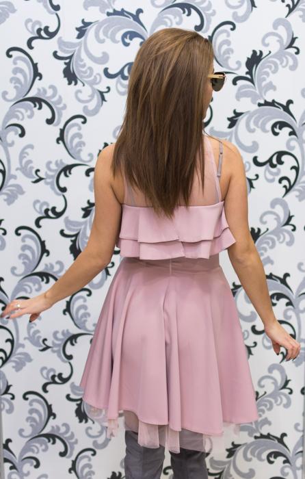 Дамска официална рокля с голо рамо - розова 5