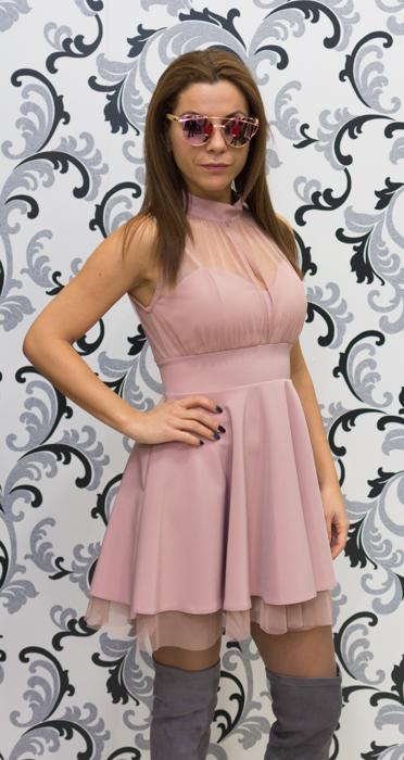 Дамска официална рокля с тюл - розова 2
