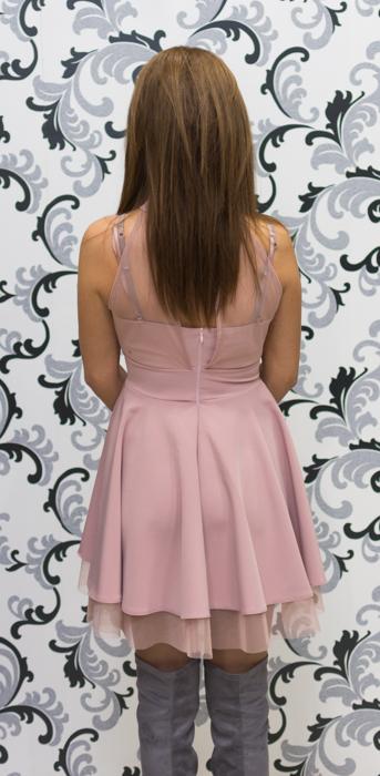 Дамска официална рокля с тюл - розова 4