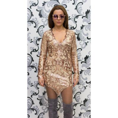 Дамска рокля с пайети с дълъг ръкав 1