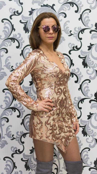 Дамска рокля с пайети с дълъг ръкав 2