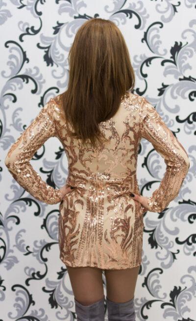 Дамска рокля с пайети с дълъг ръкав 4