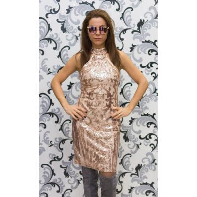 Дамска рокля с пайети без ръкав 1