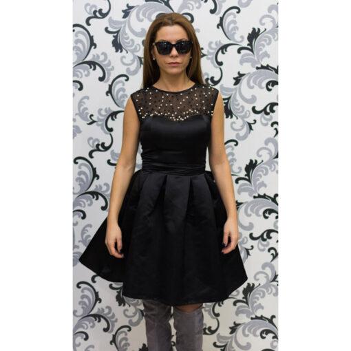 Дамска черна рокля с перли - официална 1