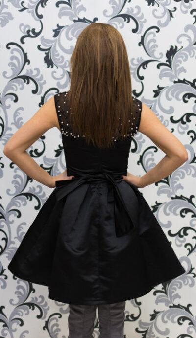 Дамска черна рокля с перли - официална 3