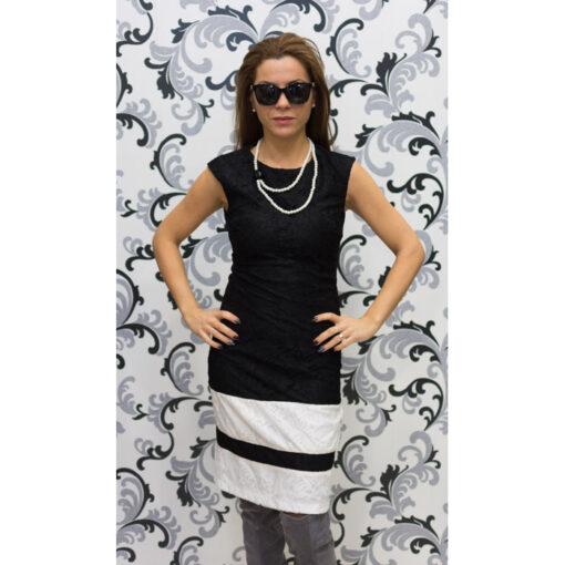 Дамска дантелена рокля в черно и бяло 1