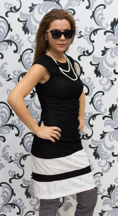 Дамска дантелена рокля в черно и бяло 2