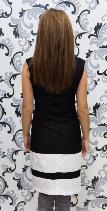 Дамска дантелена рокля в черно и бяло 4