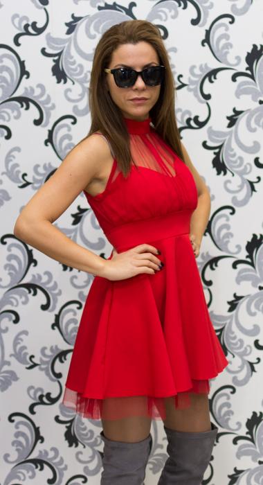 Дамска официална рокля с тюл - червена 2