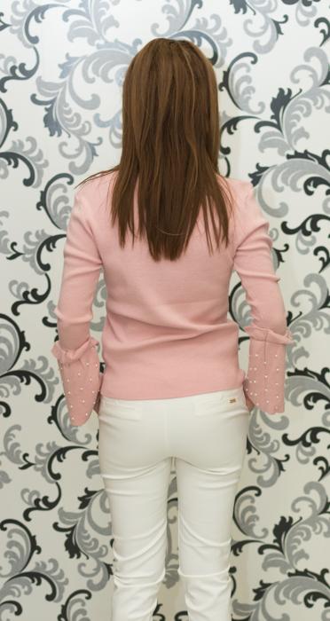 Дамска плетена блуза с перли - розова 4