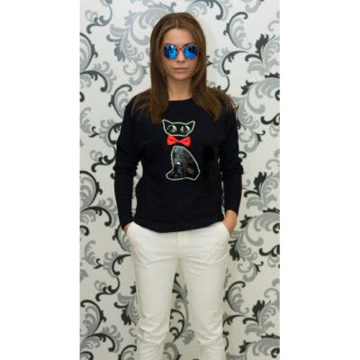 Дамска плетена блуза с коте - тъмнисиня 1